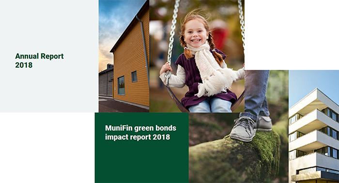 Kuvituskuva, jossa näkyy vuosikertomuksen ja vihreän rahoituksen raporttien kannaet vuodelta 2018.