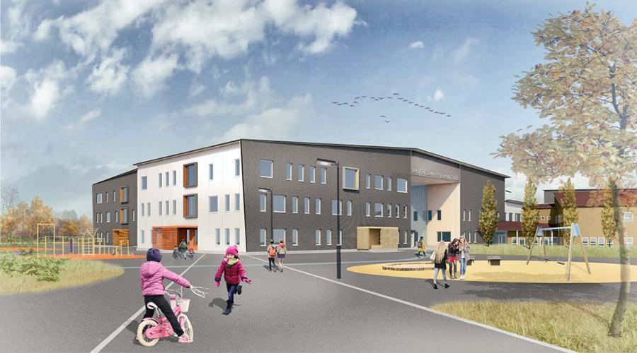 Kuvassa on Merenojan koulun havainnekuva.