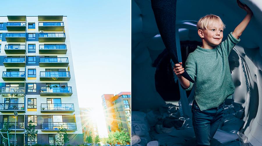 Kuvapari, jossa toisessa kuvassa on moderni kerrostalo ja toisessa kuvassa hymyilee vaaleatukkainen poika.