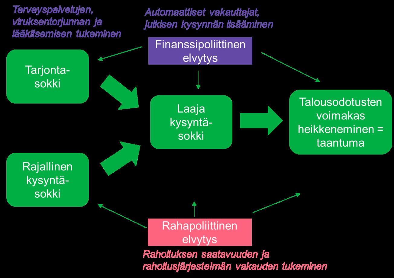 Kuvassa on esitetty kaaviona koronan taloudellisia vaikutuksia.
