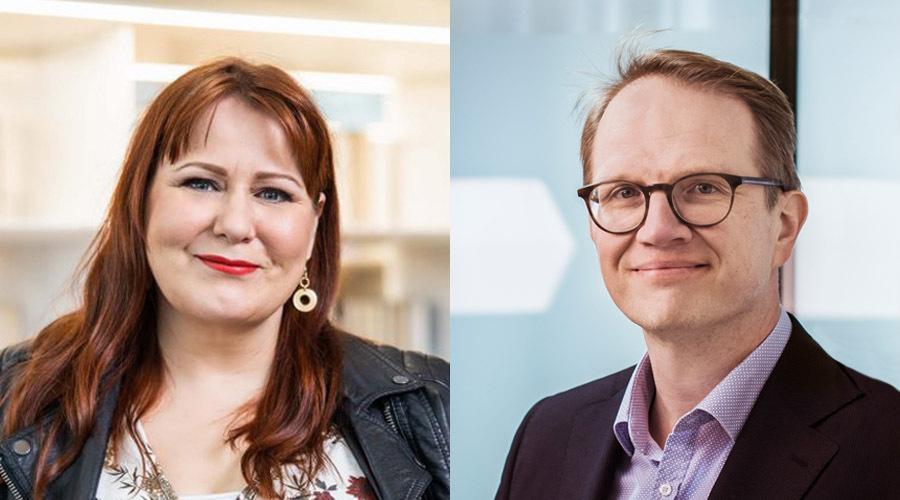 Parikuva, jossa ovat futuristi Elina Hiltunen ja Kuntarahoituksen pääekonomisti Timo Vesala.
