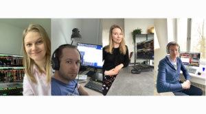Miljardin euron viitelainan järjestelyä kotitoimistoilla hoitivat Karoliina Kajova, Martin Svedholm, Miia Palviainen ja Antti Kontio Kuntarahoituksen varainhankinnan tiimistä.
