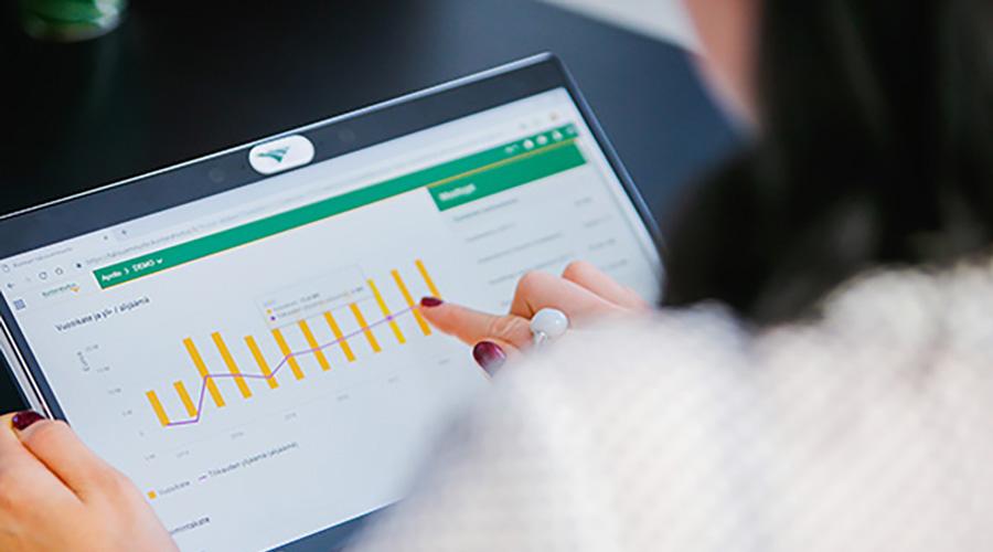 Kuvituskuva, jossa nainen osoittaa sormellaan tietokoneen näytössä näkyviä laskelmia.