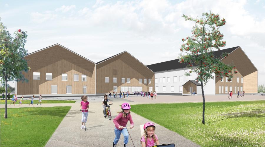 Kuvassa on havainnekuva Hiltunlahden koulusta ja päiväkodista Kuopiossa.