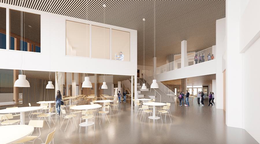 Puu ja lasi ovat näkyviä elementtejä uudessa koulukeskuksessa. Suunnittelussa inspiraatiota haettiin Lapin luonnosta., havainnekuva: Lehto Group