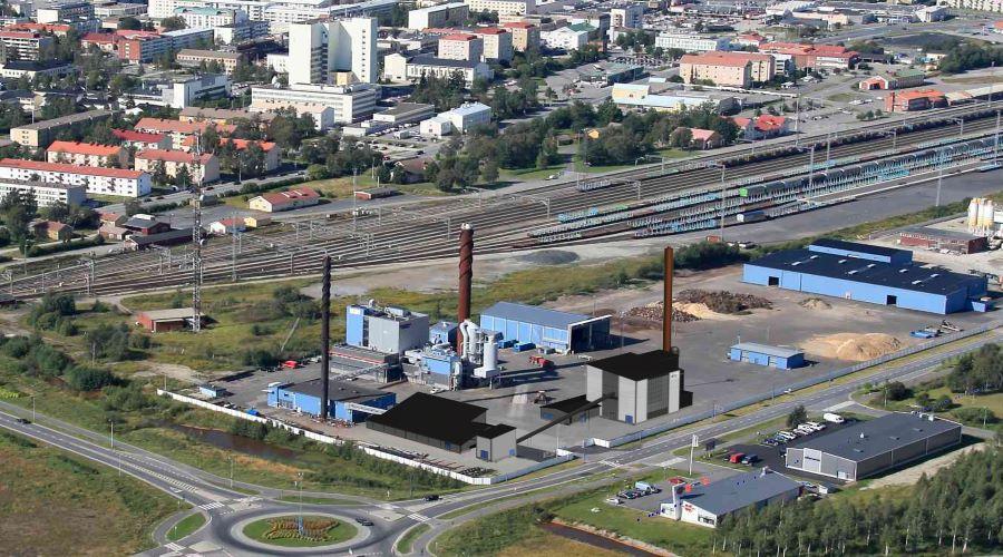 Kuvassa on Kemin Energia ja vesi Oy:n biolämpökeskus ilmasta kuvattuna.