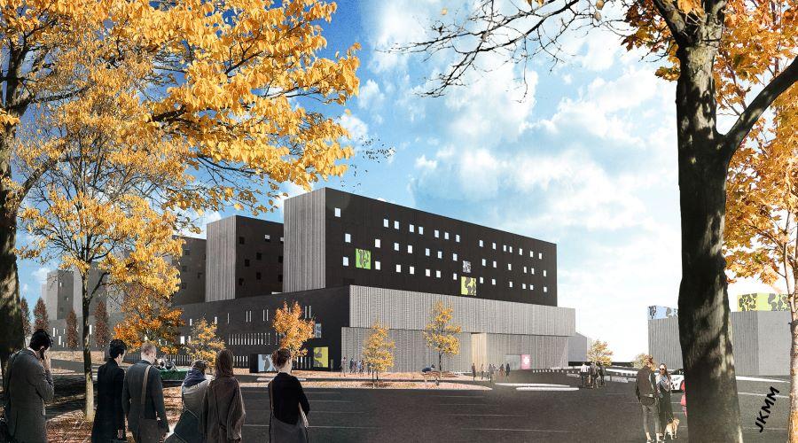 Kuvassa on havainnekuva sairaala Novasta, joka koostuu useammasta peräkkäisestä rakennuksesta.