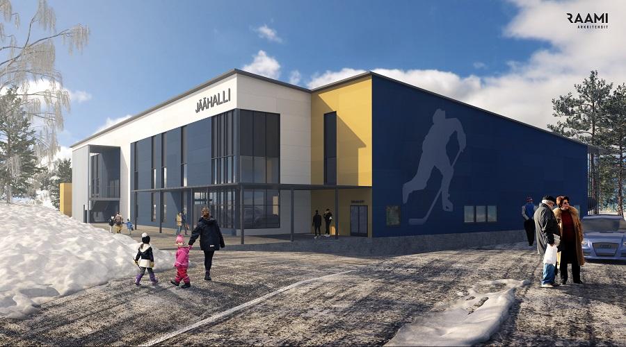 Kuvassa on Äänekosken jäähalli, jonaka seinään on maalattu suuri tyylitelty jääkiekonpelaaja.