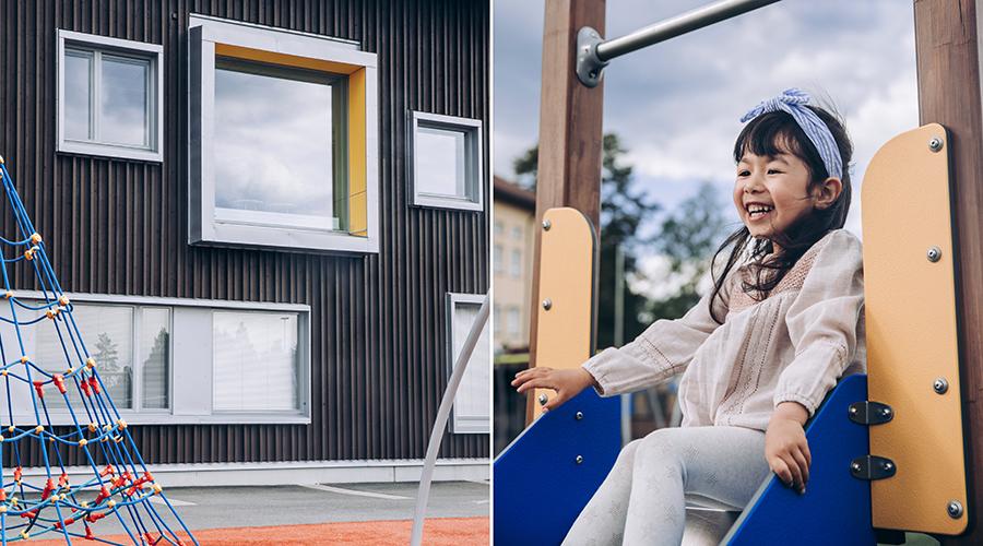 Kuvituskuvapari, jossa on talon seinää ja kiipeilyteline ja toisessa kuvassa liukumäessä istuva tyttö.