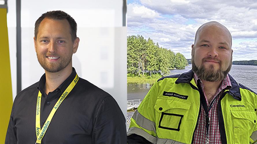 Kuvasa ovat Assemblin Oy:n Energiayksikön liiketoimintajohtaja Vesa Harju sekä Caverion Suomi Oyj:n energiaspesialisti, talotekniikkapäällikkö Kimmo Kuitunen.