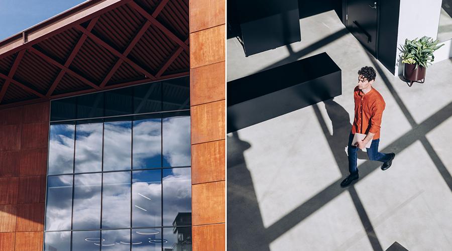 Kuvituskuvapari, jossa on -yksityiskohta rakennuksen ulkoseinästä sekä talon sisällä kattoikkunan läpi kuvastuvassa varjomuodostelmassa kävelee mies.