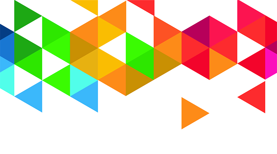 Koristekuva, jossa on erivärisiä kolmioita.