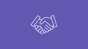 Piirretty koristekuva, jossa on kättelevät kädet violetilla taustalla