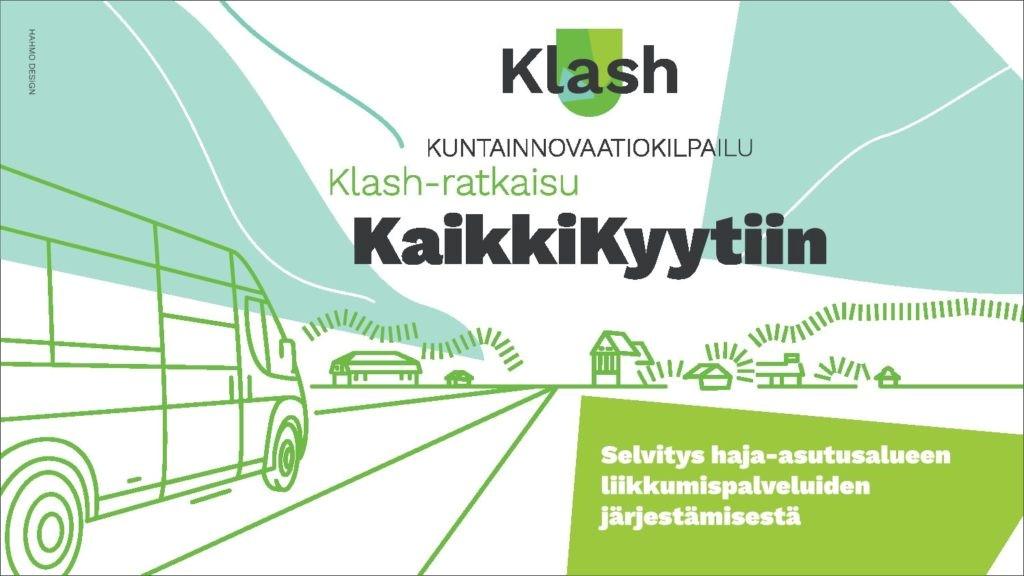 Otsikkokuva, jossa tekstinä Kuntainnovaatiokilpailu, Klash-ratkaisu Kaikki kyytiin