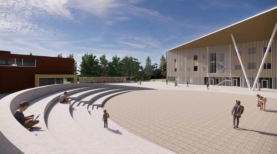 Havainnekuva Tuusulan Riihikallion uudesta monitoimikampuksesta. Kuvassa etuvasemmalla amfiteatterimainen katsomo, keskellä kenttä ja oikealla kolmikerroksinen, moderni koulurakennus.