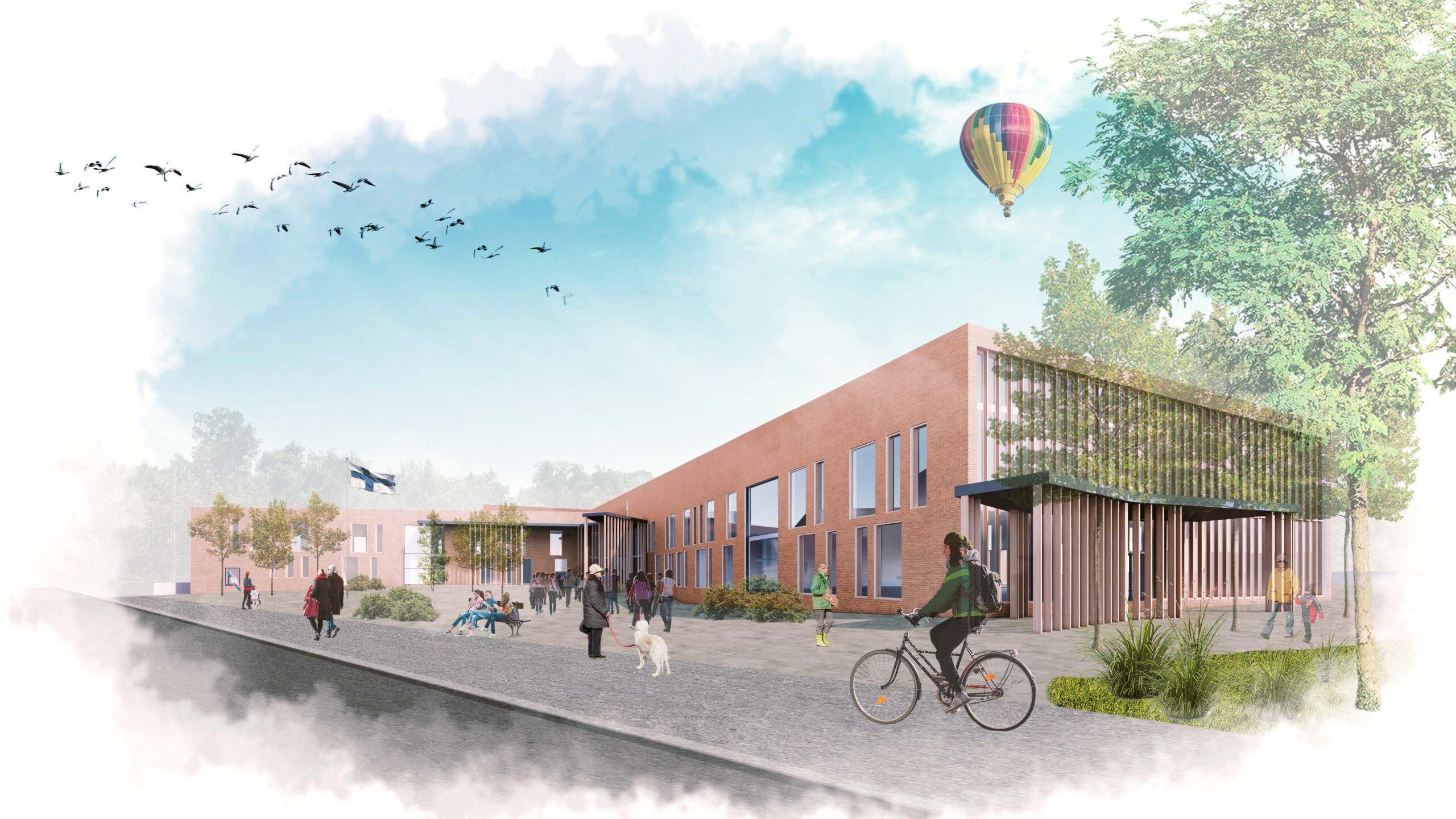 Havainnekuva Tuusulan Rykmentinpuistoon suunnitellusta monitoimikampuksesta. Piirrosmaisessa kuvassa on keskellä moderni koulurakennus, jonka edessä ihmiset parveilevat. Taivaalla on kuumailmapallo ja kuvan vasemmassa laidassa lintuparvi.