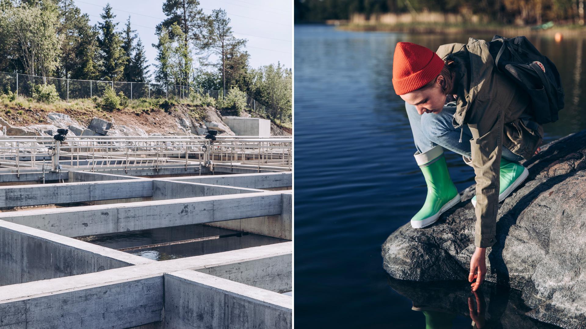 Kuvapari, jossa toisessa kuvassa on vedenpuhdistamon vesialtaita sekä toisessa kuvassa nuori tyttö kumartumassa koskettamaan järven pintaa.