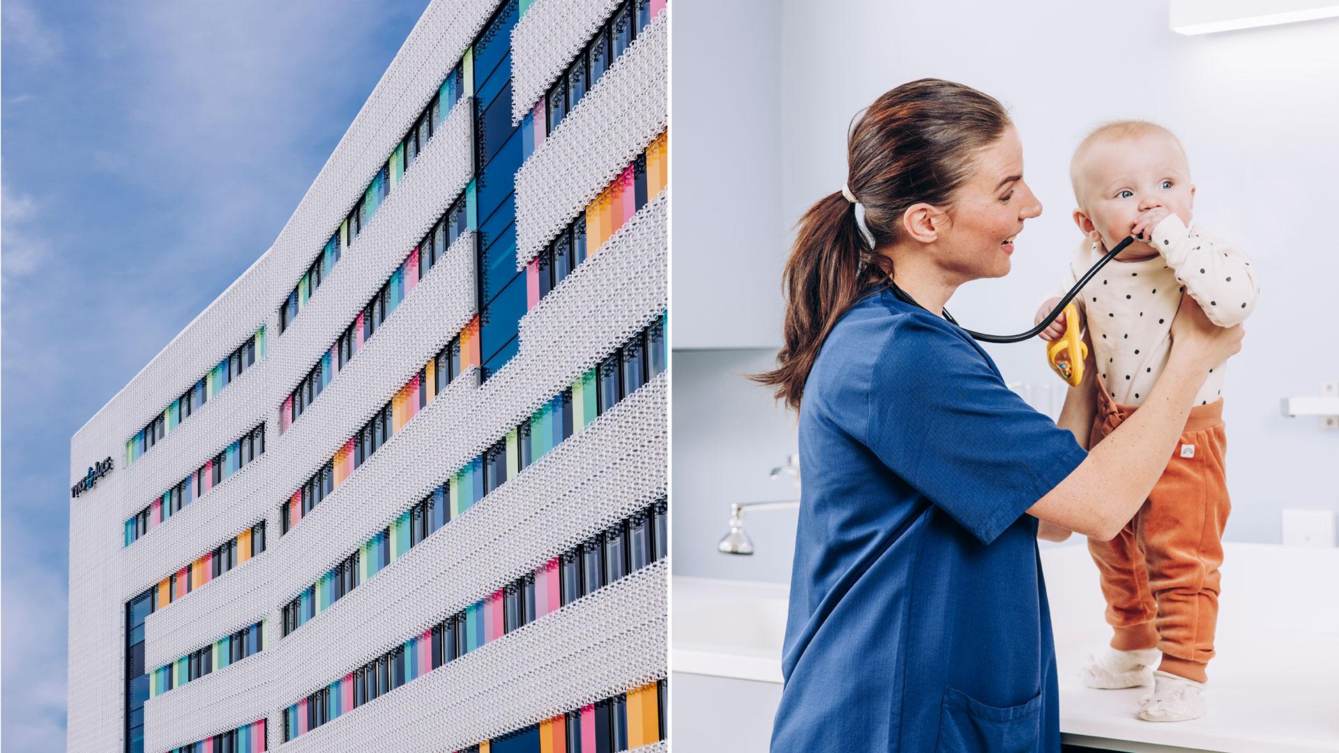 Kuvapari, jossa toisessa kuvassa on sairaala ja toisessa hoitaja pitelemässä vauvaa.
