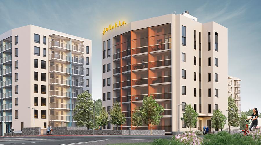 """Arkkitehtitoimiston visualisointi Tampereen Jallukan julkisivusta. Vaaleasävyinen, 6-kerroksinen kerrostalo, jonka lasitetut parvekkeet avautuvat kuvan etualalle. Rakennuksen katolla on keltainen """"jallukka""""-valokyltti."""