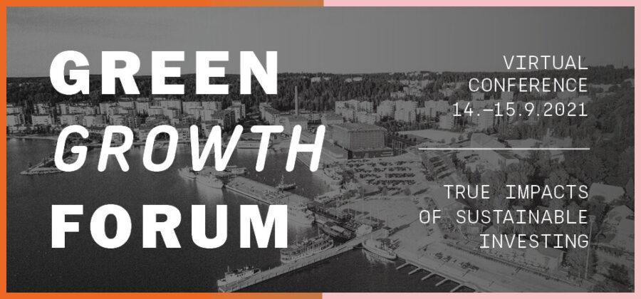 Green Growth Forumin kansikuva, jossa taustalla kaupunkimaisemaa