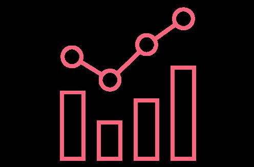 Kuvituskuva, jossa on pylväitä kaaviossa ja niiden yläpuolella lukujen kehitystä ilmaiseva käyrä.