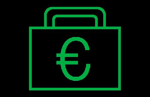 Kuvituskuva, jossa on piirretty salkku ja sen kyljessä euron merkki.