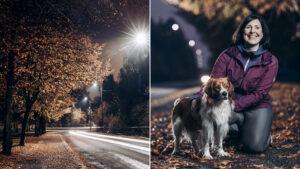 Kuvapari syksyisesti katuvalaistuksesta sekä koirasta ja naisulkoiluttajasta