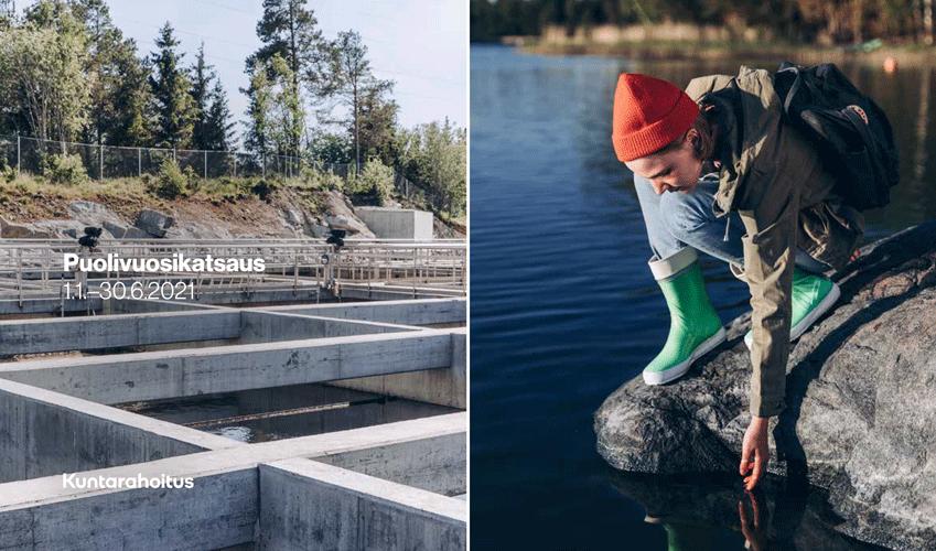 Puolivuosikatsauksen 2021 kansikuva, jossa vasemmalla jätevedenpuhdistamon altaita ja oikealla oranssipipoinen tyttö kurkottelee kalliolta veteen.