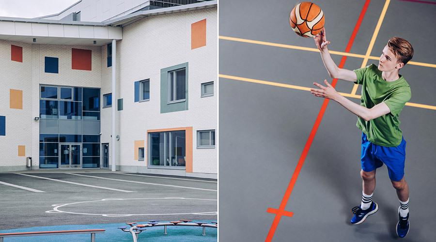 Kuvapari, jossa toisessa kuvassa näkyy Parkanon koulun sisäänkäynti ja värikäs seinä ja toisessa kuvassa poika pelaa koripalloa liikuntasalissa.