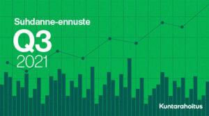 """Kuvituskuva: Kuntarahoituksen suhdanne-ennuste, Q3/2021. Vihreällä taustalla graafeja sekä valkoisella teksti: """"Suhdanne-ennuste Q3 2021""""."""