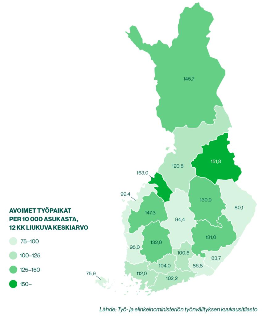 Kartta: Avoimien työpaikkojen määrä maakunnittain, 12 kk liukuva keskiarvo. Lähde: Työ- ja elinkeinoministeriön työnvälityksen kuukausitilasto.