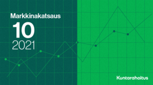 Kuvituskuva: viivakuvaajia vihreällä taustalla. Päällä teksti: Markkinakatsaus 10 2021.