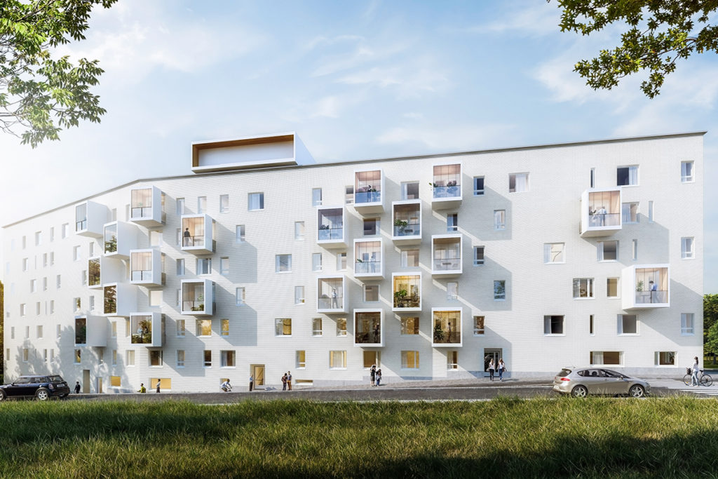 A decorative picture of a modern white apartment house.