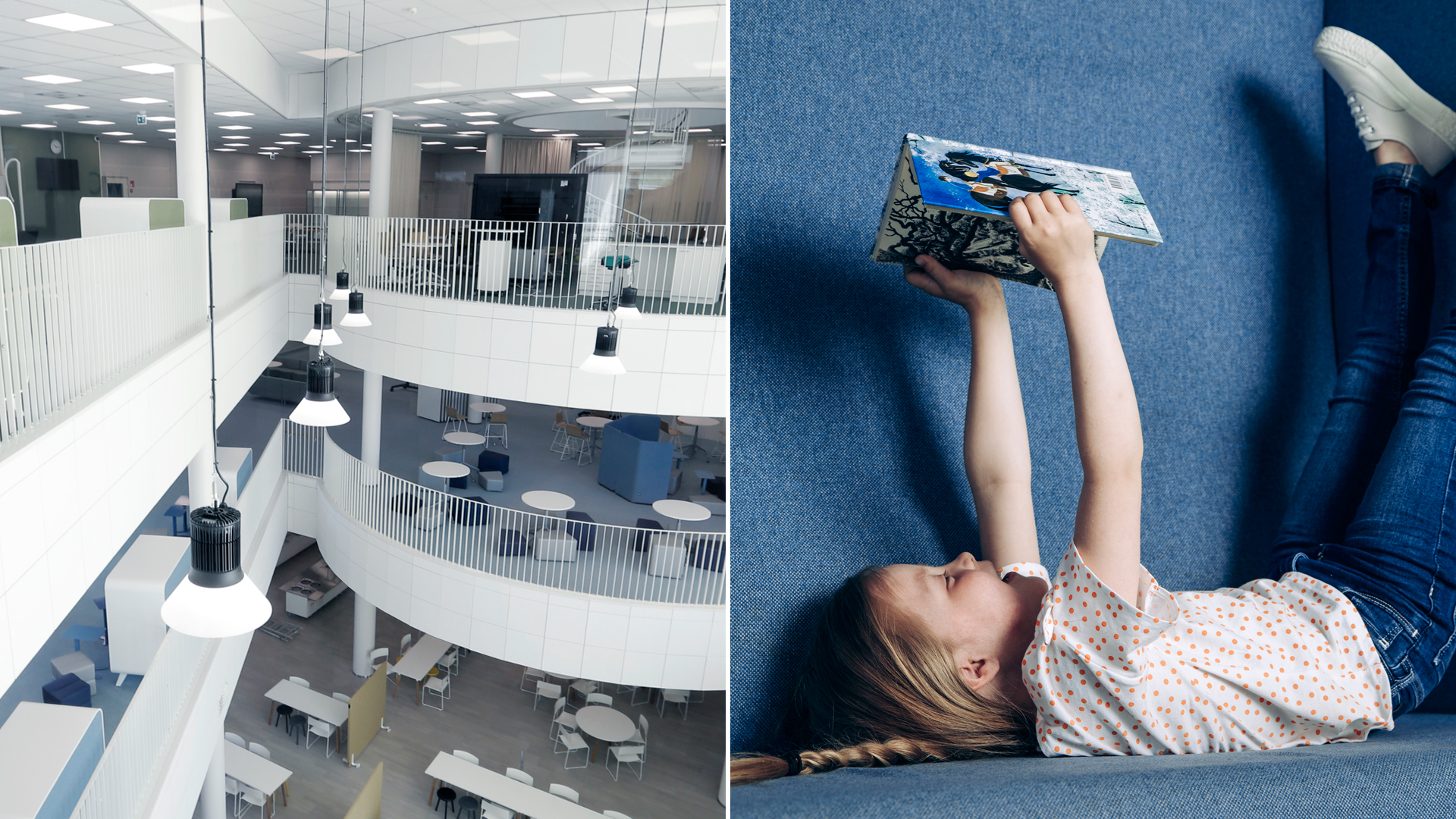 A picture of a school and library interior and a young girl reading a book.