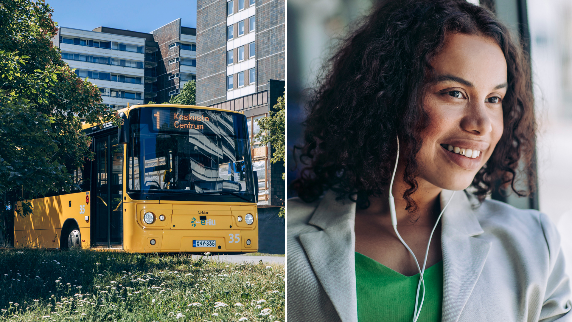 A yellow city bus in Turku and a young woman as passanger.