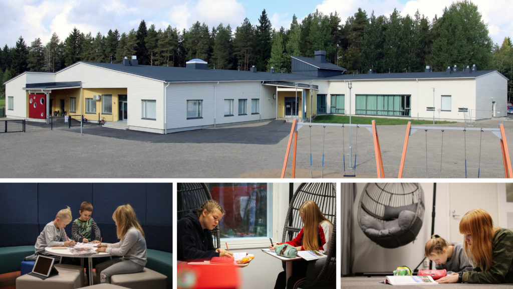 The new school and pictures of pupils in different learning areas inside the building.