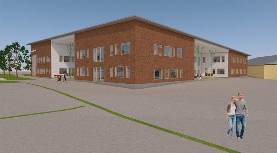 A drawing of the planned education centre in Tohmajärvi.