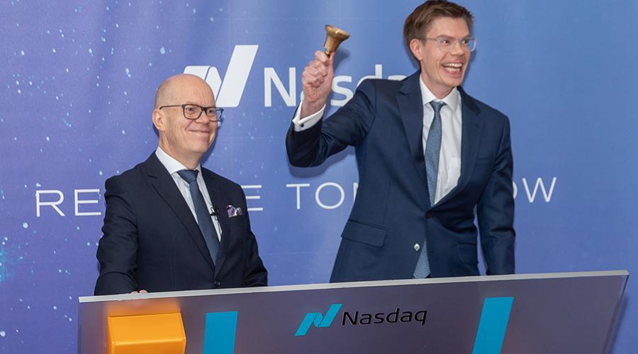 MuniFin´c Esa Kallio and Antti Kontio rang the openig bell at Nasdaq Helsinki.
