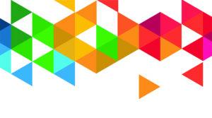 Decorative picture of colourful triangles
