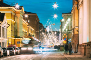 Decorative picture of Helsinki at Christmas time.