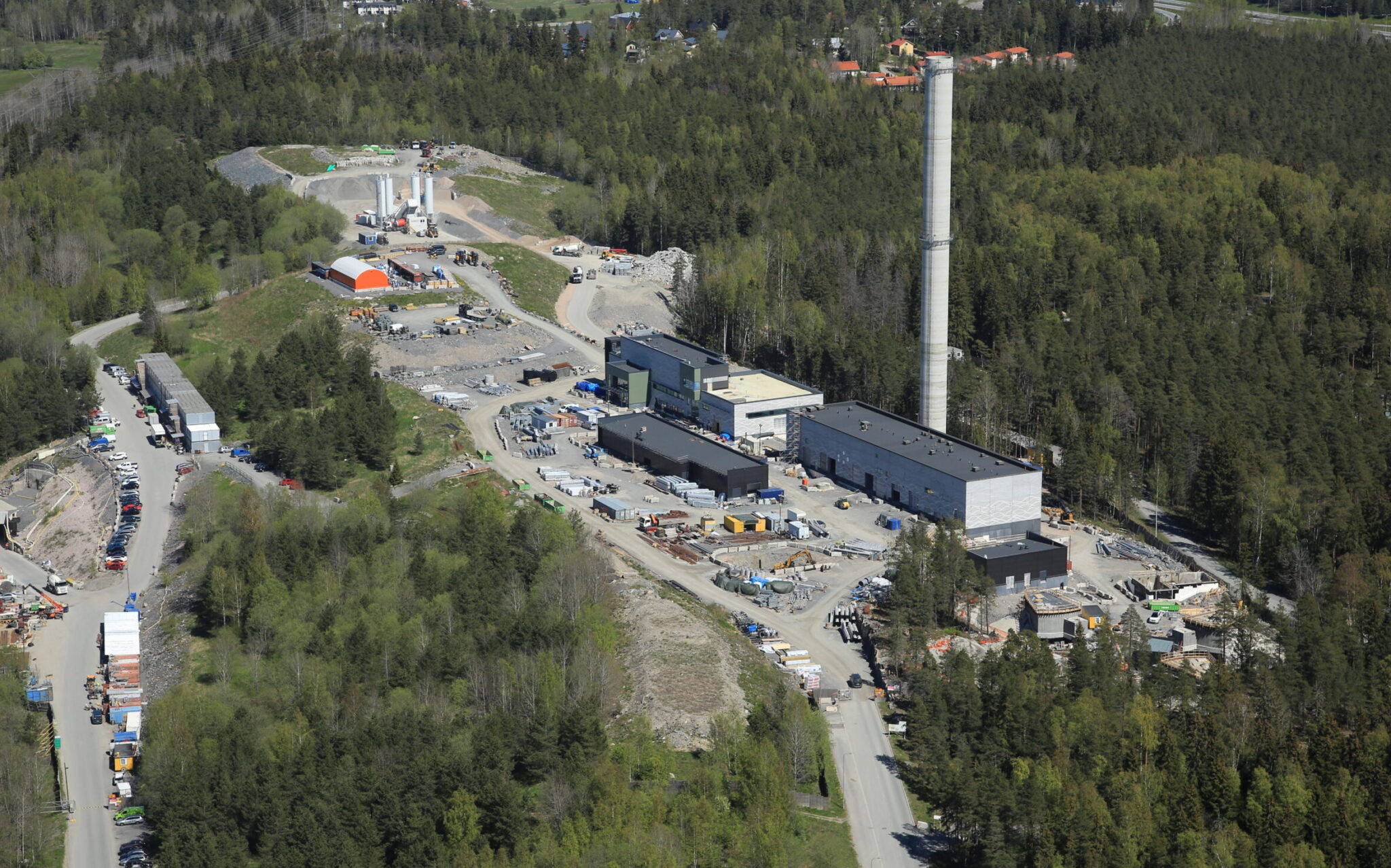 Picture taken by a drone of he Blominmäki wastewater treatment plant