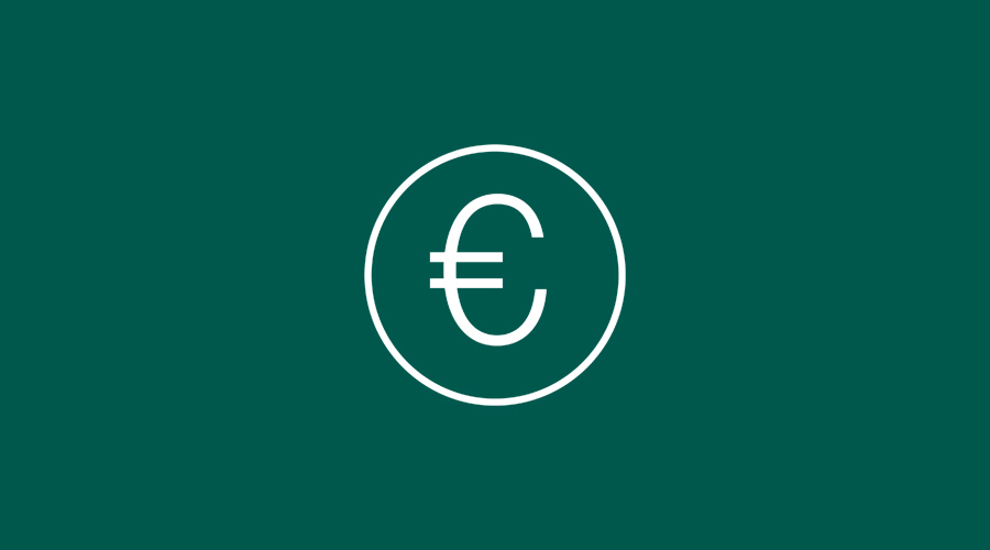 Euro icon on a dark green background