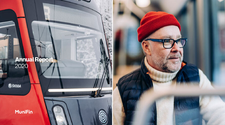 Decorative picture of a tram in Tampere next to a man traveling in it.