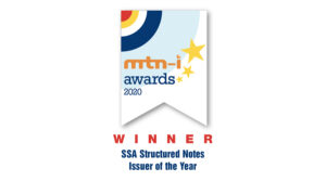 Award ribbon for SSA Structured Notes Issued of the Year by mtn-i awards 2020