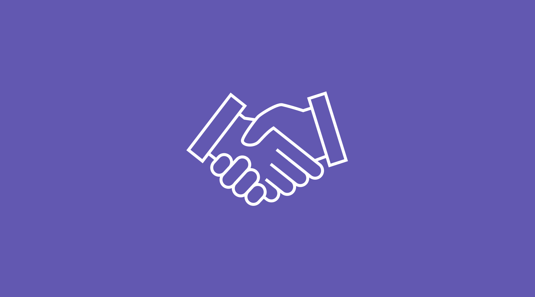 A pictogram of a handshake on a purple background