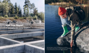 Cover page of the report. On the left hand side water in wastewater handling plant, on the right a girl sitting on a reaching towards seawater with her hand.