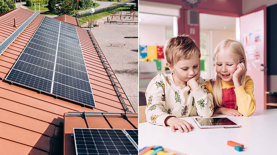 Pictures of solar panes and day care childen using a tablet
